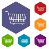 Large empty supermarket cart icons set hexagon Stock Image
