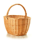 Large empty wicker basket isolated on white Stock Photography