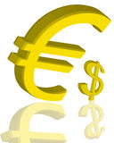 Large Euro and dollar sign Stock Photography