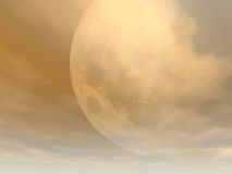 Large Evening Moon. Background of large moon with brown late evening tone Stock Photo