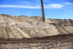 Large excavation site with heaps of sand Stock Images