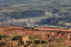 Large excavator at work in one of the mining lignite Stock Images