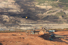 Large excavator at work in one of the mining lignite Stock Photo
