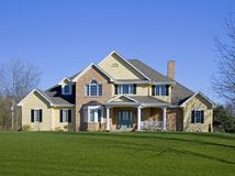 Large Executive Brick Home Stock Photos