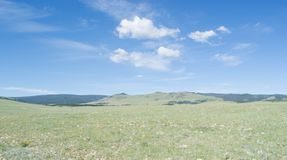 Large expanse of Wyoming prairie. A large, open expanse of the desolate Wyoming prairie, Great Plains, Laramie, blue sky, white clouds stock photo