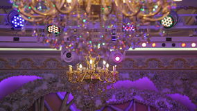 Large expensive chandeliers stock footage
