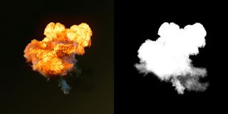 Large explosion with black smoke in dark plus alpha channel. 3d rendering vector illustration