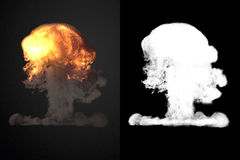 Large explosion with black smoke in dark 3d rendering. Large explosion with black smoke in dark with alpha channel. 3d rendering Stock Images