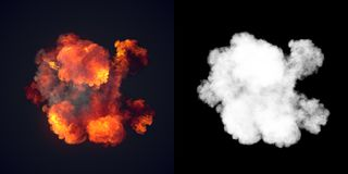 Large explosion with black smoke in dark plus alpha channel. Top view. 3d rendering stock illustration