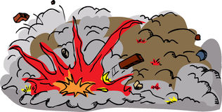 Explosion with flying debris royalty free stock photo image