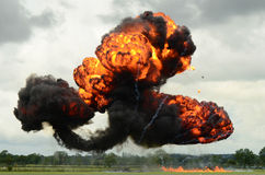Large explosion. Photograph of large explosion as part of a flight demonstartion during an Airshow Stock Images