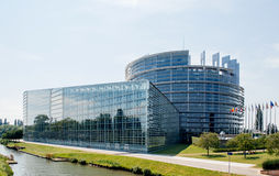 Large facade of the European Parliament in Strasbourg. STRASBOURG, FRANCE - JUNE 29: Large facade of the European Parliament in Strasbourg, France on June 29 Stock Image