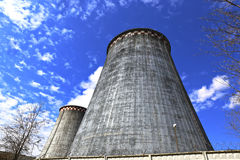Large factory chimneys Stock Photos