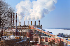 Large factory with smoking chimneys Royalty Free Stock Photo