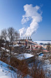 Large factory with smoking chimneys Royalty Free Stock Images