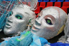 Large fake masks for the show open mass sports festival Royalty Free Stock Photo
