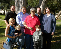 Large family. Large Caucasian multi-generation family portrait outside at the park Royalty Free Stock Photography