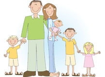 Large Family. A cartoon vector drawing of a large family including father, mother, two boys and two girls stock illustration
