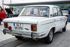 Large family car Fiat 125 Special, 1971. STUTTGART, GERMANY - MARCH 04, 2017: Large family car Fiat 125 Special, 1971. Rear view. Europe`s greatest classic car Royalty Free Stock Photo