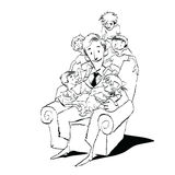 Large family, dad in a chair with children. Hand drawn vector illustration. Many children. Black and white illustration Royalty Free Stock Photo
