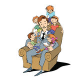 Large family, dad in a chair with children. Hand drawn vector illustration. Many children. Color illustration Stock Photo