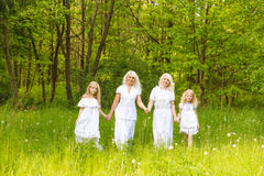 A large family is resting in nature Royalty Free Stock Photo