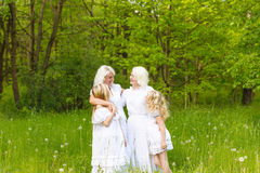 A large family is resting in nature Stock Photography
