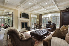 Large family room with fireplace Stock Photo