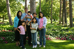 Large family of seven Royalty Free Stock Photo