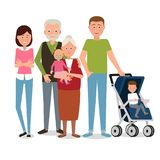 Large family of six people. Vector illustration. Painted in shape royalty free illustration