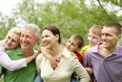 Large family in the summer park royalty free stock image