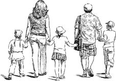 Large family. Vector image of a large family on a walk in summer day Royalty Free Stock Photography