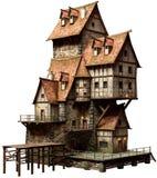 Large fantasy building 3D illustration. Large fantasy port side building 3D illustration royalty free illustration