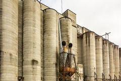Large farm industrial silos Royalty Free Stock Images