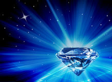 Large Faux Diamond with Bright Blue Bursts of Light Royalty Free Stock Image