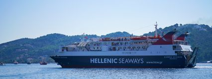 Large ferry boat in Skopelos, Greece royalty free stock photography