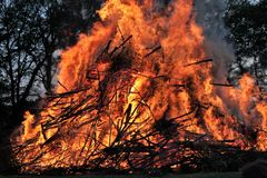 Large festive Easter fire in Twente the Netherlands royalty free stock image