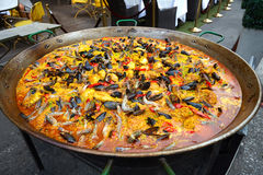 Large fideua a paella in the street. Royalty Free Stock Photography