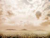 Large field of baked earth Royalty Free Stock Image