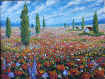 Large field of red flowers, clouds. Original oil painting large field of red flowers, clouds on canvas. Impasto artwork. Impressionism art Stock Images