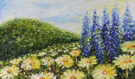 Large field of summer flowers, daisies. Original oil painting large field of summer flowers, daisies  on canvas. Impasto artwork. Impressionism art Royalty Free Stock Image