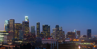 Large File Panorama Image of Los Angeles Skyline. Los Angeles, USA - Novemeber 5, 2011: Los Angeles skyline with building identification intact shortly before Royalty Free Stock Photo