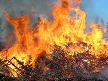 Large fire. On the holiday Walpurgis Stock Photos