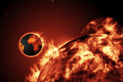 Large fire ball of the sun with earth. Digitally generated Large fire ball of the sun with earth Stock Photo