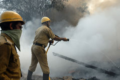 Large Fire Breaks Out In Kolkata Slum Stock Photos