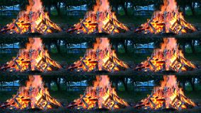 Large fire burning on the glade in the evening. Multicam split screen group montage background. Abstract animation wall stock video footage