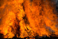 A large fire. Large fire caused by burning many trees.at Hiwatari Festival Stock Photos