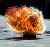Large fire explosion. Attempt response to the hot oil and water Stock Photography