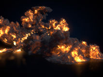Large fireball  on dark background. 3d rendering. Large fireball  on dark background. Close up. 3d rendering Royalty Free Stock Photo