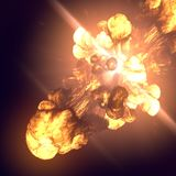 Large fireball isolated on dark background. 3d rendering. Large fireball isolated on dark background. Close up. 3d rendering Stock Photo